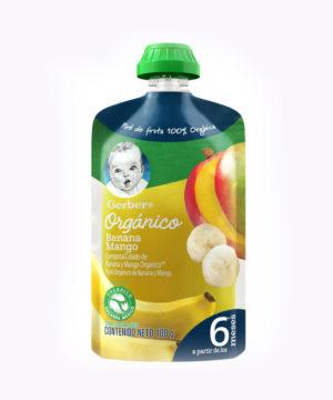 Gerber Organico Platano & Mango Pouch 100g  Nuevo
