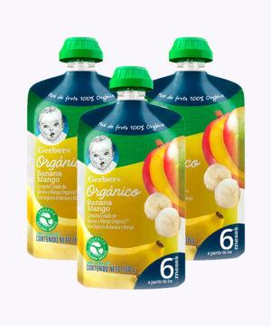 "Gerber Organico Platano & Mango Pouch 100g  Nuevo ""PACK X 3"""