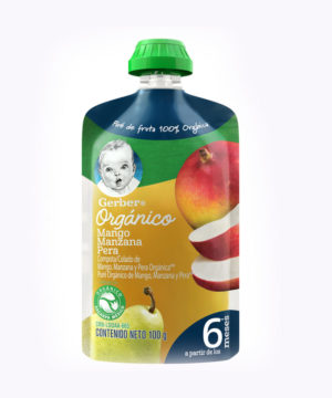 Gerber Organico Mango, Manz & Pera  Pouch 100g  Nuevo