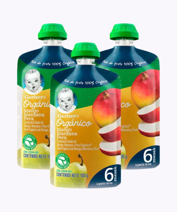 "Gerber Organico Mango, Manz & Pera  Pouch 100g  Nuevo ""PACK X 3"""