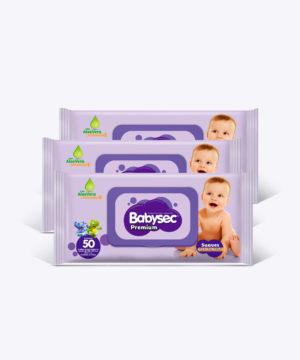 "Toallas Humedas Babysec Premium C/tapa X50 ""PACK X 3"""