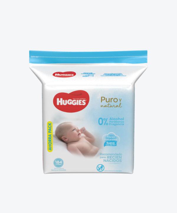 Toallas Hum. Huggies Natural Care R.nacido X 184