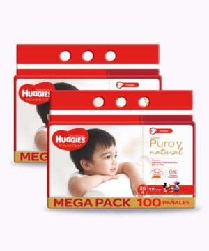 "Huggies Natural Care Cotton Unisex Xg X100 Nuevo ""PACK X 2"""