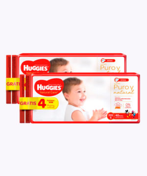 "Onpack Huggies Natural Care Cotton Xxgx40+4 Gratis  Nuevo ""PACK X 80"""