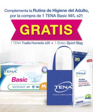 Pack Tena Basic Mediano X 21 + Bolso Regalo